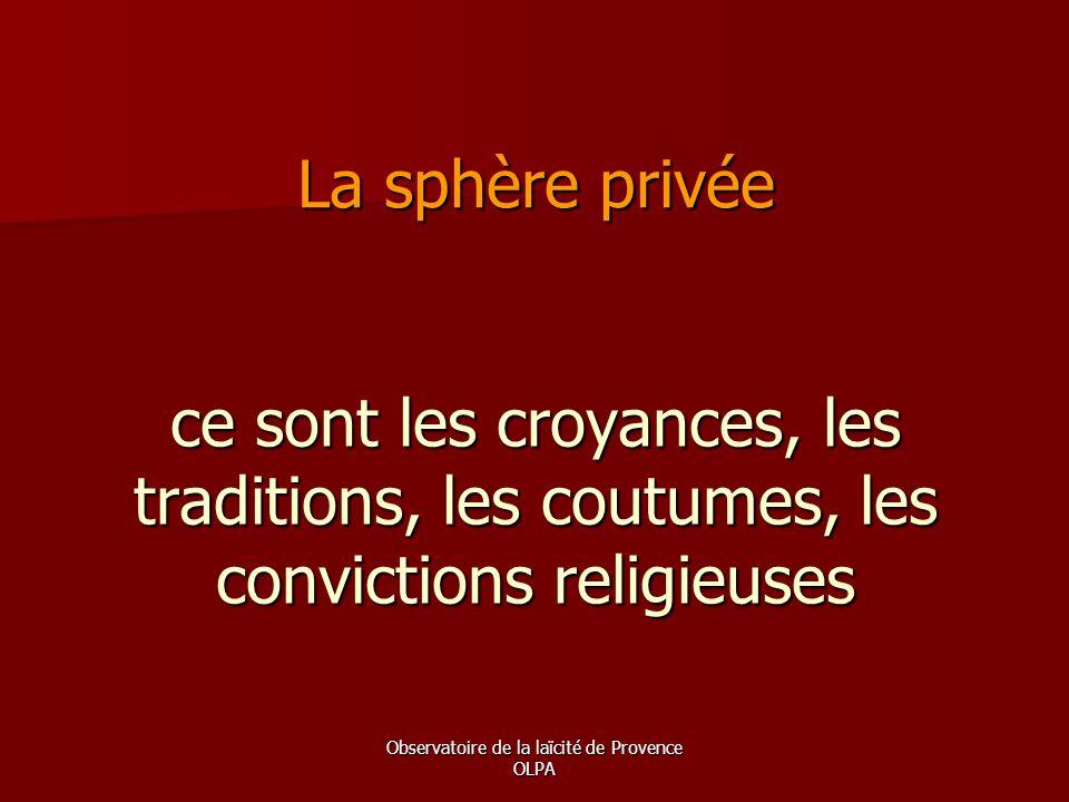 Observatoire de la laïcité de Provence OLPA ce sont les croyances, les traditions, les coutumes, les convictions religieuses La sphère privée
