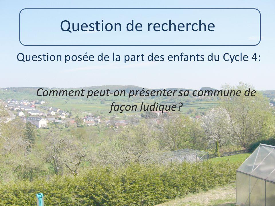 Question de recherche Question posée de la part des enfants du Cycle 4: Comment peut-on présenter sa commune de façon ludique?