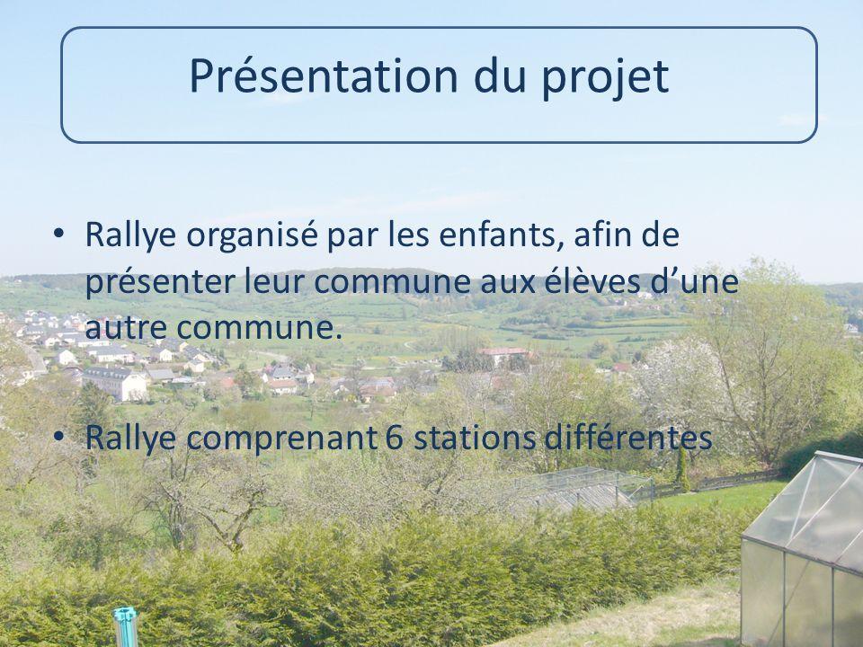 Présentation du projet Rallye organisé par les enfants, afin de présenter leur commune aux élèves d'une autre commune. Rallye comprenant 6 stations di