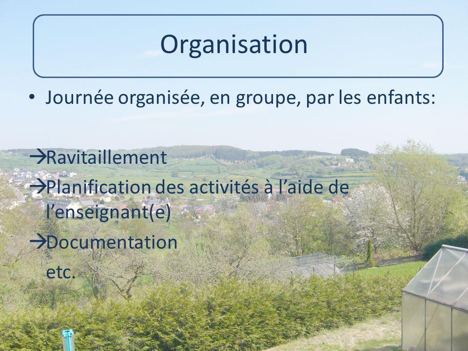 Organisation Journée organisée, en groupe, par les enfants:  Ravitaillement  Planification des activités à l'aide de l'enseignant(e)  Documentation