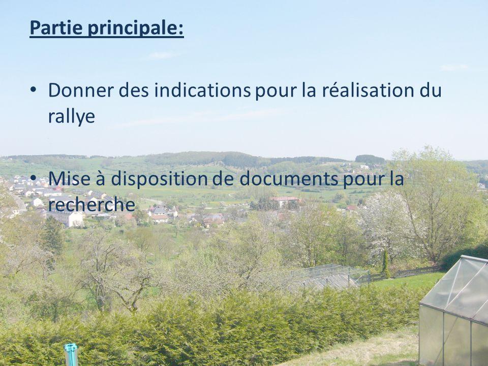 Partie principale: Donner des indications pour la réalisation du rallye Mise à disposition de documents pour la recherche