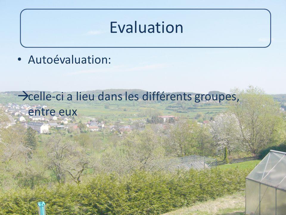 Autoévaluation:  celle-ci a lieu dans les différents groupes, entre eux Evaluation
