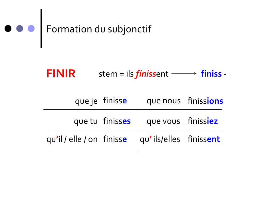Formation du subjonctif FINIR que je finisse que tu qu'il / elle / on que nous que vous qu' ils/elles finisses finisse finissions finissiez finissent