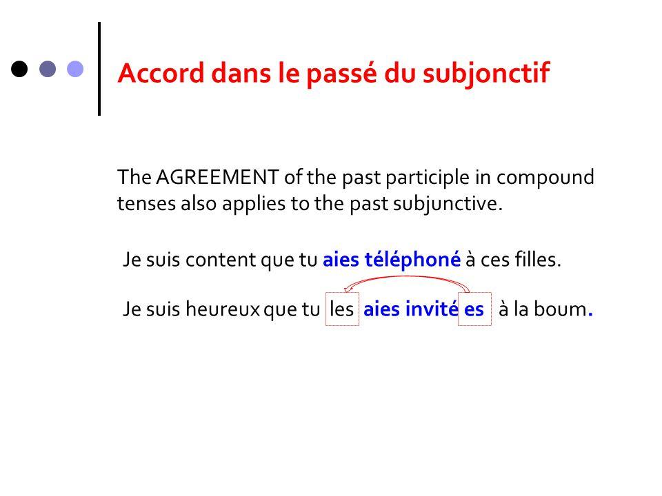 Accord dans le passé du subjonctif The AGREEMENT of the past participle in compound tenses also applies to the past subjunctive. Je suis content que t