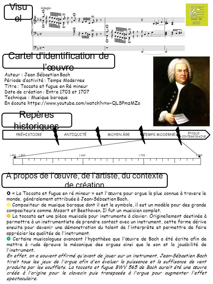 Cartel d'identification de l'œuvre Repères historiques A propos de l'œuvre, de l'artiste, du contexte de création Auteur : Jean Sébastien Bach Période