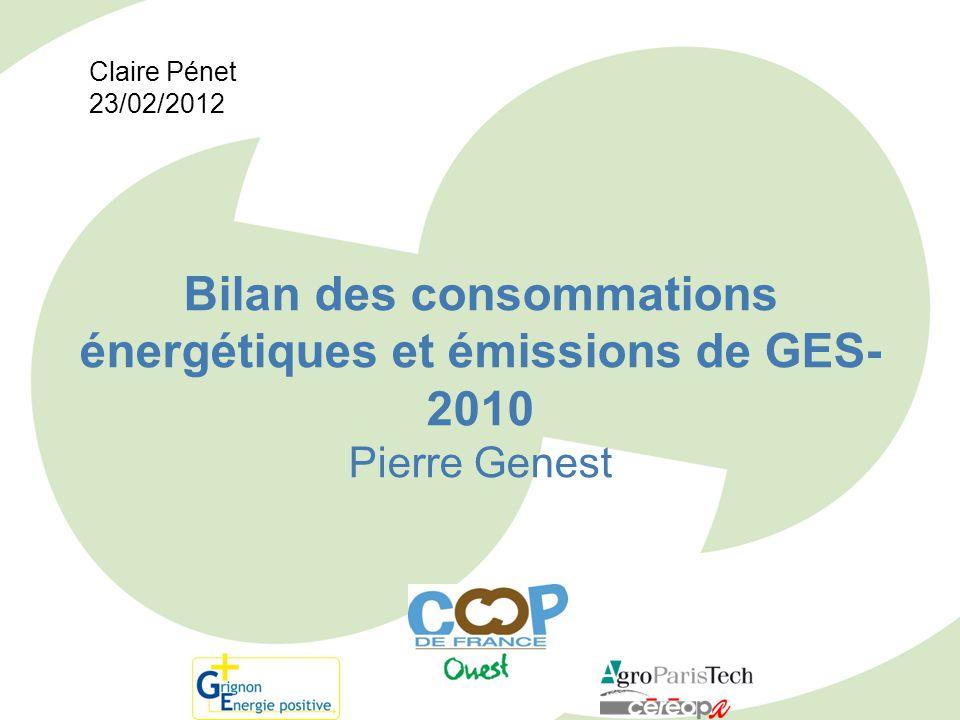 Bilan des consommations énergétiques et émissions de GES- 2010 Pierre Genest Claire Pénet 23/02/2012