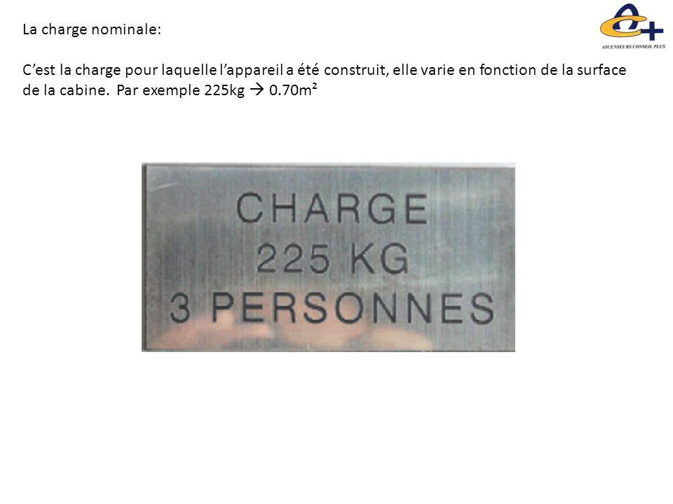 La charge nominale: C'est la charge pour laquelle l'appareil a été construit, elle varie en fonction de la surface de la cabine. Par exemple 225kg  0