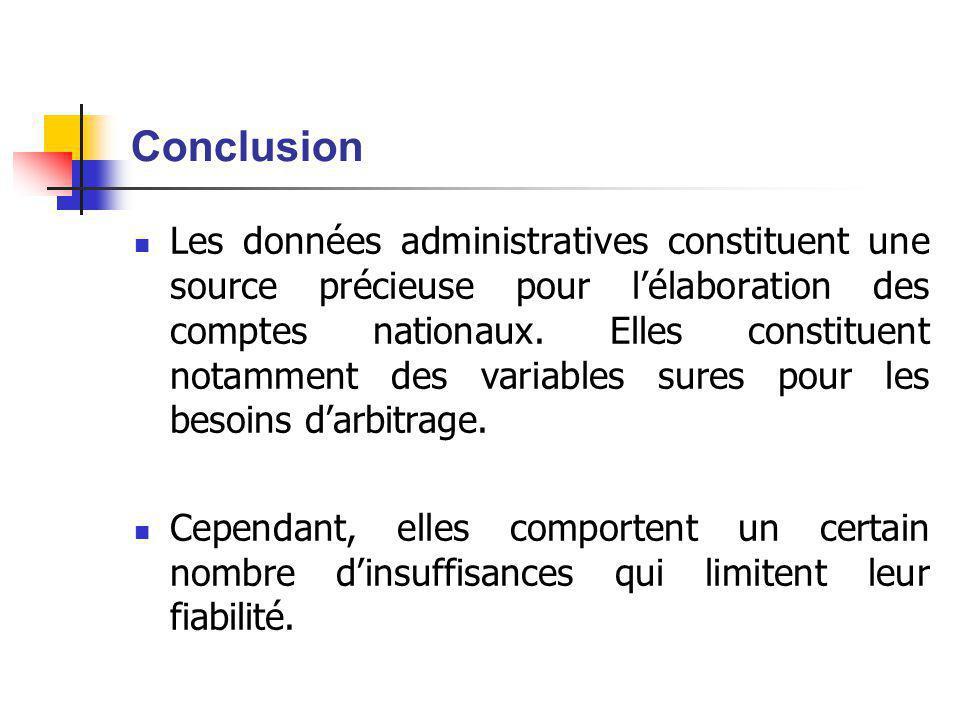 Conclusion Les données administratives constituent une source précieuse pour l'élaboration des comptes nationaux.