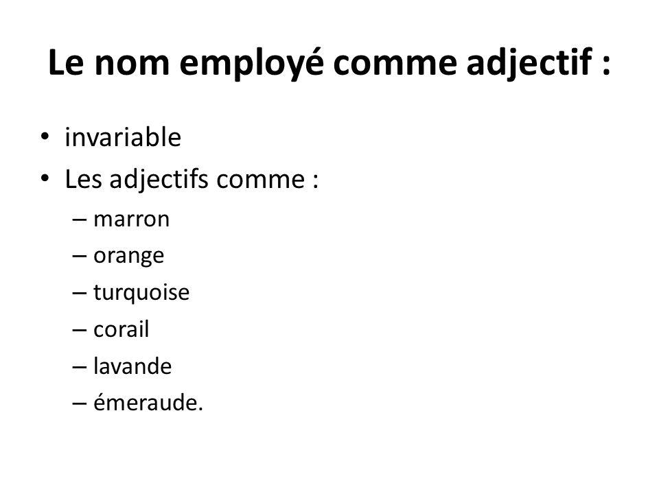 Le nom employé comme adjectif : invariable Les adjectifs comme : – marron – orange – turquoise – corail – lavande – émeraude.
