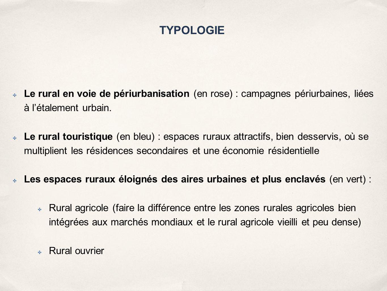 TYPOLOGIE ✤ Le rural en voie de périurbanisation (en rose) : campagnes périurbaines, liées à l'étalement urbain. ✤ Le rural touristique (en bleu) : es