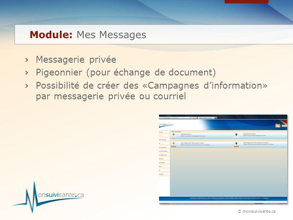 © monsuivisante.ca ›Messagerie privée ›Pigeonnier (pour échange de document) ›Possibilité de créer des «Campagnes d'information» par messagerie privée ou courriel Module: Mes Messages