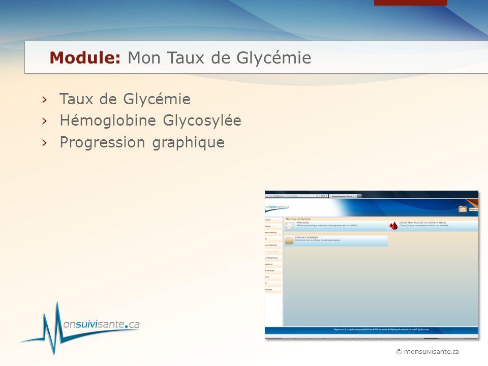 © monsuivisante.ca ›Taux de Glycémie ›Hémoglobine Glycosylée ›Progression graphique Module: Mon Taux de Glycémie