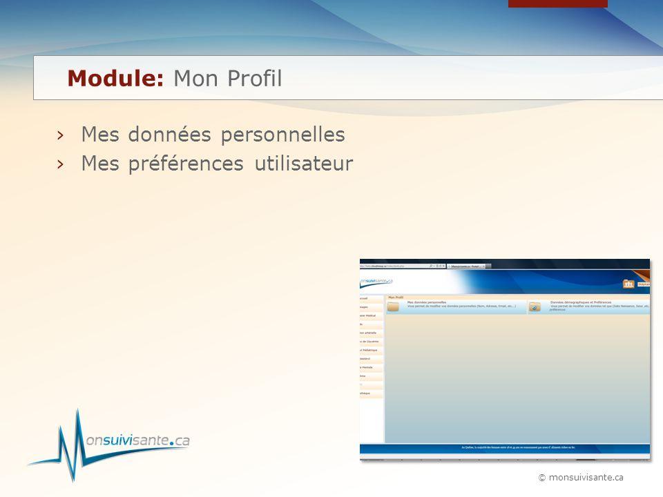 © monsuivisante.ca ›Mes données personnelles ›Mes préférences utilisateur Module: Mon Profil
