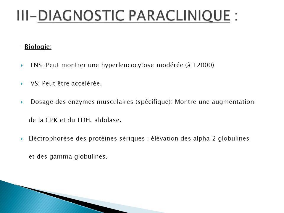 -Biologie:  FNS: Peut montrer une hyperleucocytose modérée (à 12000)  VS: Peut être accélérée.  Dosage des enzymes musculaires (spécifique): Montre
