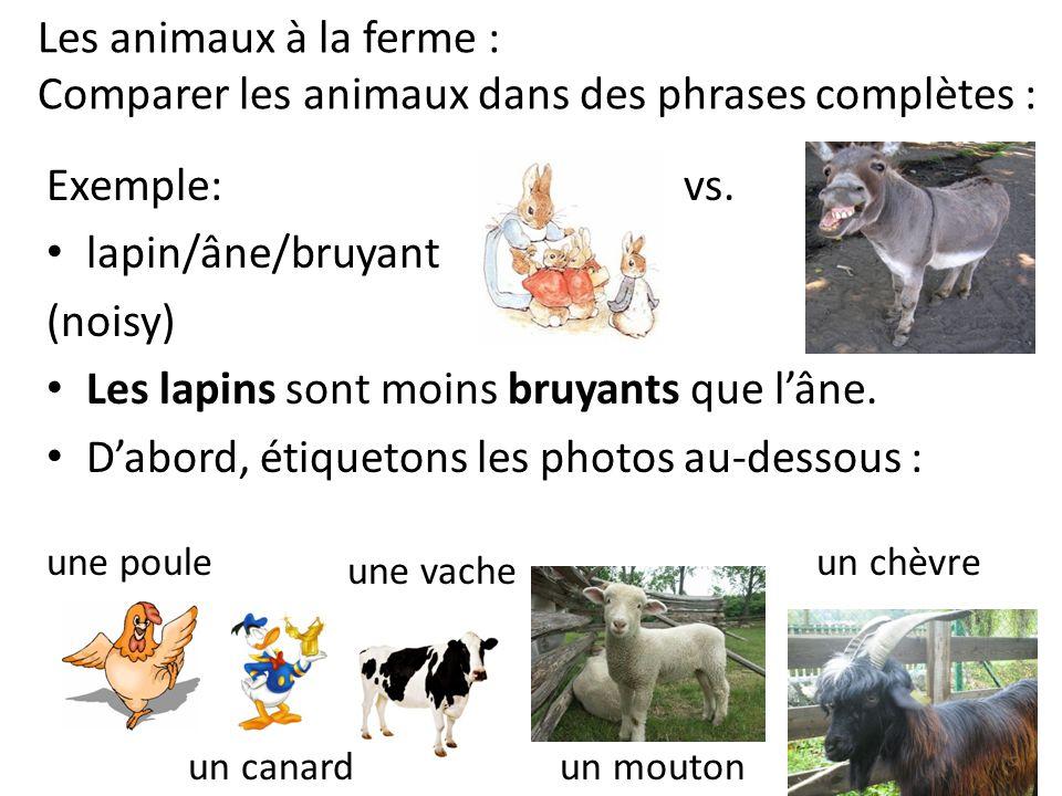 Les animaux à la ferme : Comparer les animaux dans des phrases complètes : Exemple: vs. lapin/âne/bruyant (noisy) Les lapins sont moins bruyants que l