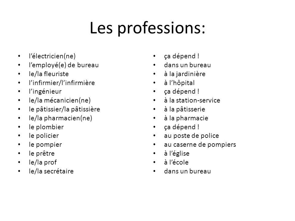 Les professions: l'électricien(ne) l'employé(e) de bureau le/la fleuriste l'infirmier/l'infirmière l'ingénieur le/la mécanicien(ne) le pâtissier/la pâ