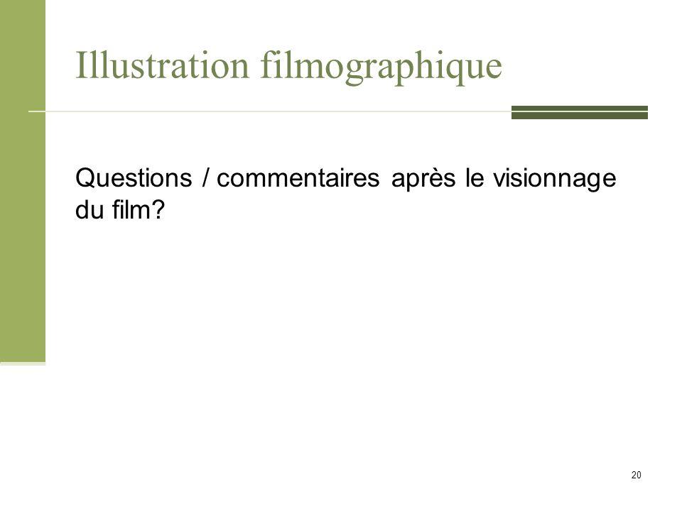 Illustration filmographique Questions / commentaires après le visionnage du film 20