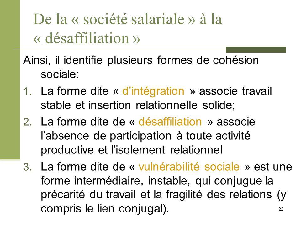 De la « société salariale » à la « désaffiliation » Ainsi, il identifie plusieurs formes de cohésion sociale: 1.