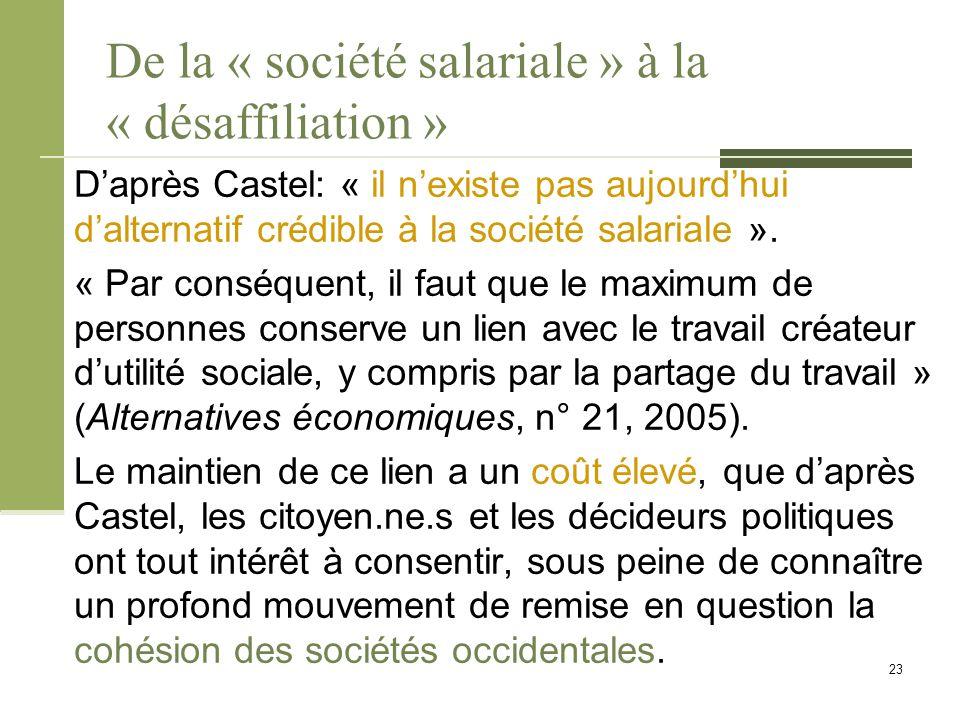 De la « société salariale » à la « désaffiliation » D'après Castel: « il n'existe pas aujourd'hui d'alternatif crédible à la société salariale ».