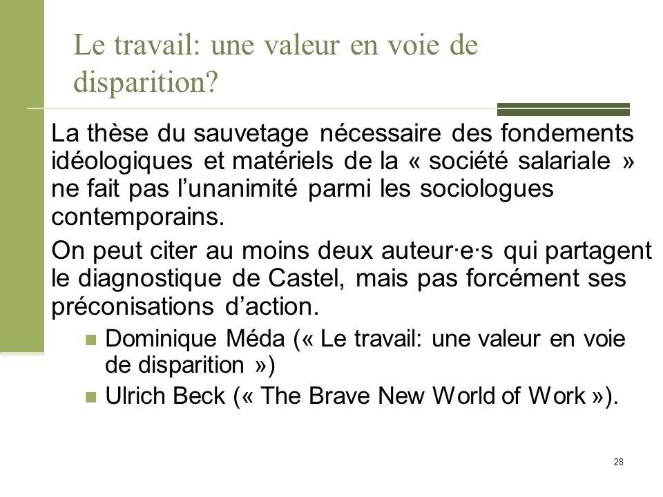 Le travail: une valeur en voie de disparition.
