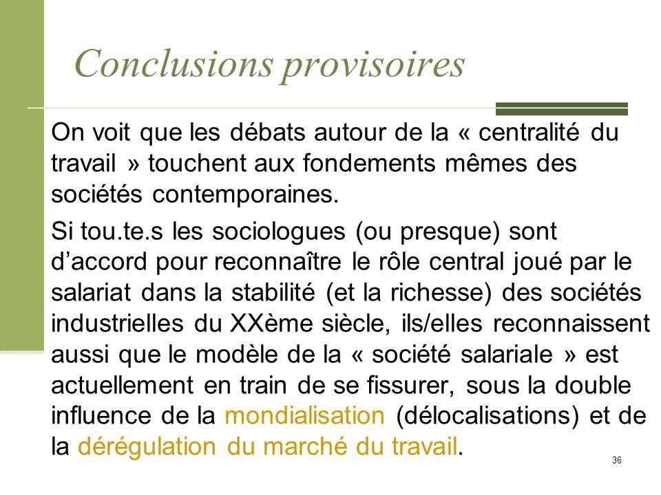 Conclusions provisoires On voit que les débats autour de la « centralité du travail » touchent aux fondements mêmes des sociétés contemporaines.