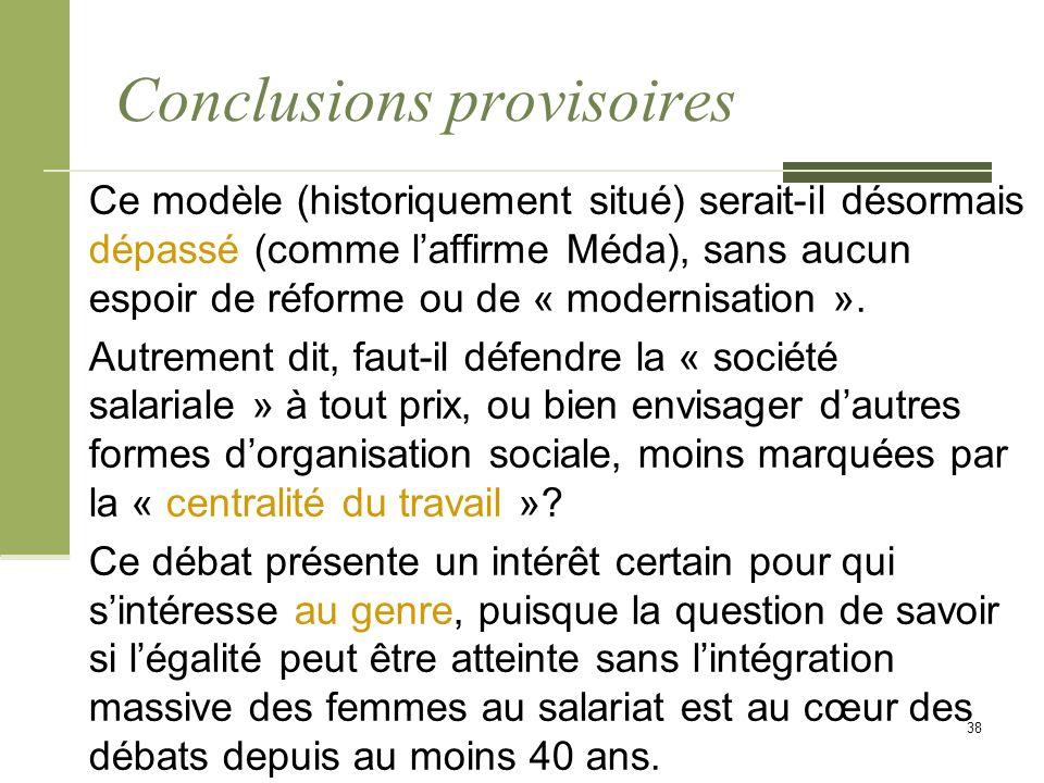 Conclusions provisoires Ce modèle (historiquement situé) serait-il désormais dépassé (comme l'affirme Méda), sans aucun espoir de réforme ou de « modernisation ».