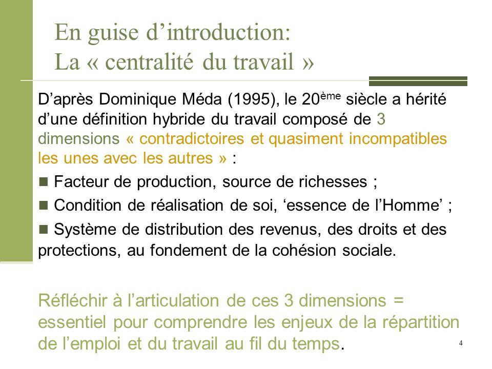 De la « société salariale » à la « désaffiliation » On peut donc dire que Robert Castel (ancien collaborateur de Pierre Bourdieu et fortement inspiré par les écrits de Michel Foucault), défend la thèse de la nécessaire « centralité du travail » dans les sociétés contemporaines.