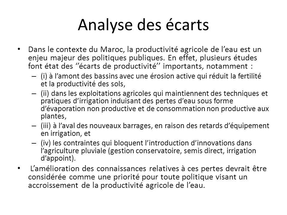 Analyse des écarts Dans le contexte du Maroc, la productivité agricole de l'eau est un enjeu majeur des politiques publiques.
