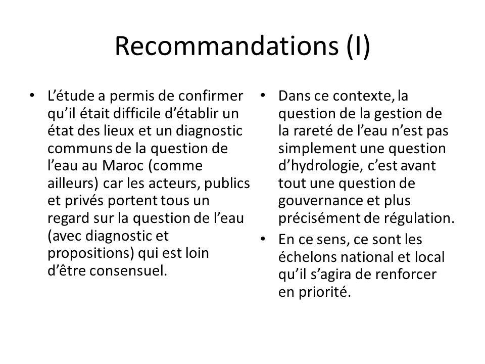Recommandations (I) L'étude a permis de confirmer qu'il était difficile d'établir un état des lieux et un diagnostic communs de la question de l'eau au Maroc (comme ailleurs) car les acteurs, publics et privés portent tous un regard sur la question de l'eau (avec diagnostic et propositions) qui est loin d'être consensuel.