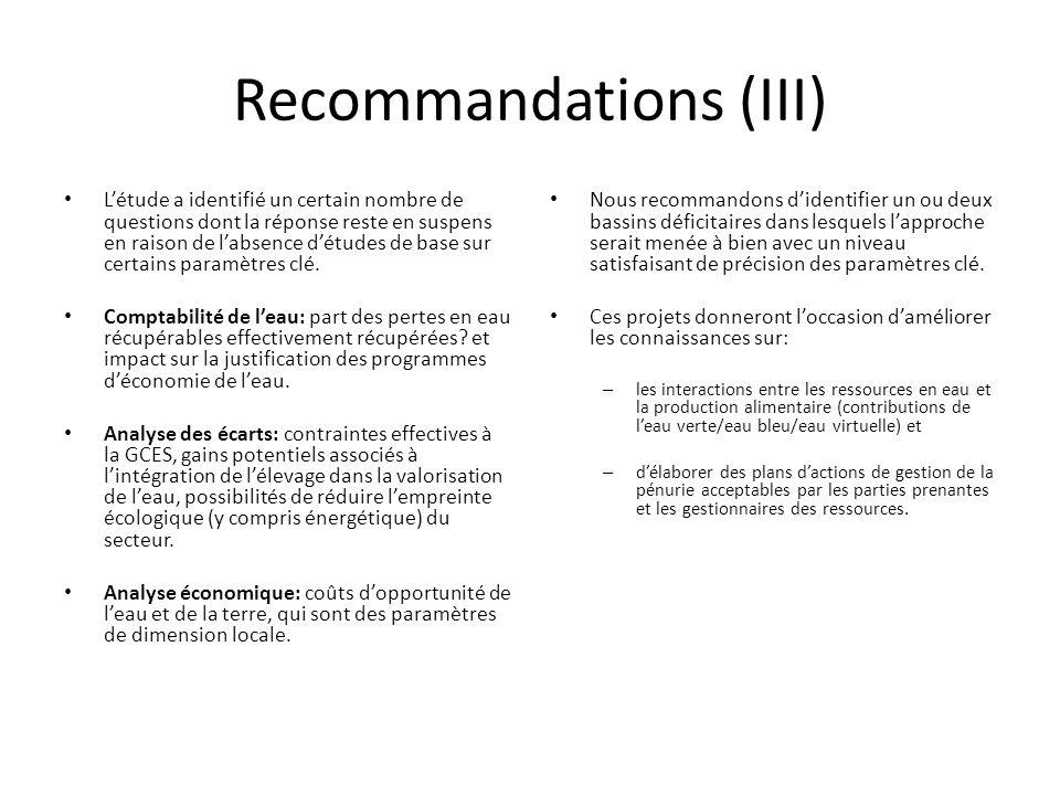 Recommandations (III) L'étude a identifié un certain nombre de questions dont la réponse reste en suspens en raison de l'absence d'études de base sur certains paramètres clé.