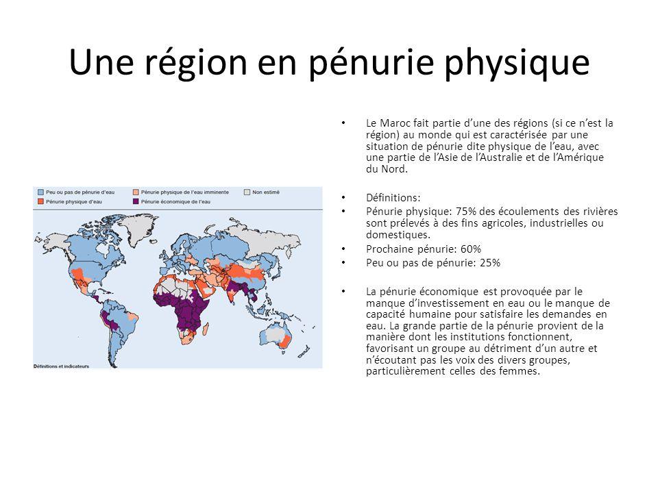 Une région en pénurie physique Le Maroc fait partie d'une des régions (si ce n'est la région) au monde qui est caractérisée par une situation de pénurie dite physique de l'eau, avec une partie de l'Asie de l'Australie et de l'Amérique du Nord.