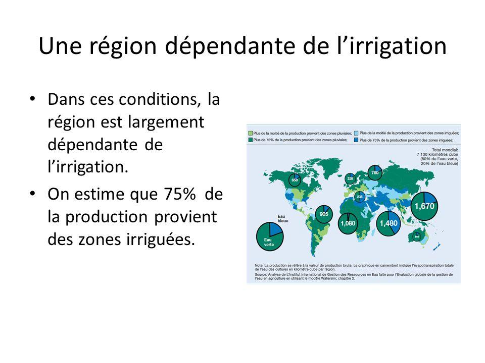 Une région dépendante de l'irrigation Dans ces conditions, la région est largement dépendante de l'irrigation.