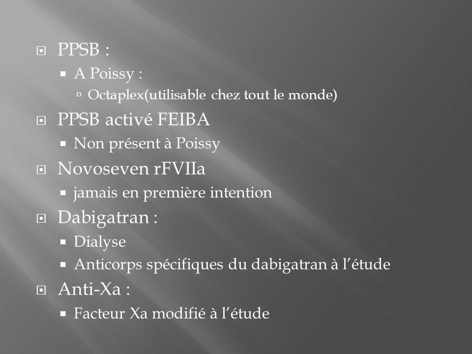  PPSB :  A Poissy :  Octaplex(utilisable chez tout le monde)  PPSB activé FEIBA  Non présent à Poissy  Novoseven rFVIIa  jamais en première int