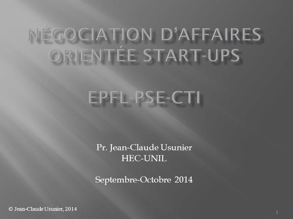 1 Pr. Jean-Claude Usunier HEC-UNIL Septembre-Octobre 2014 © Jean-Claude Usunier, 2014