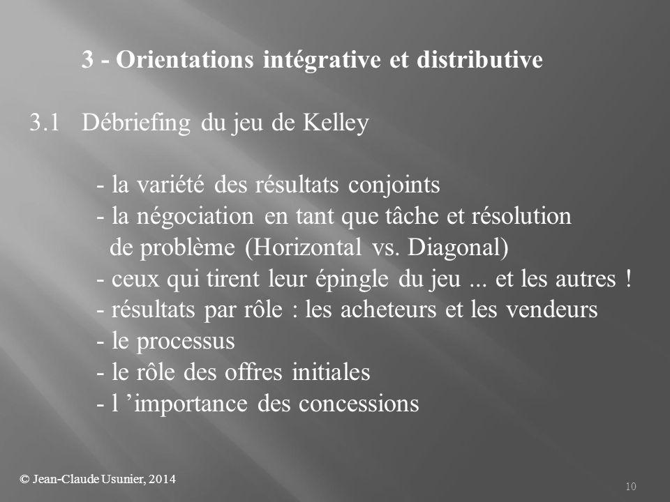 10 3 - Orientations intégrative et distributive 3.1 Débriefing du jeu de Kelley - la variété des résultats conjoints - la négociation en tant que tâch