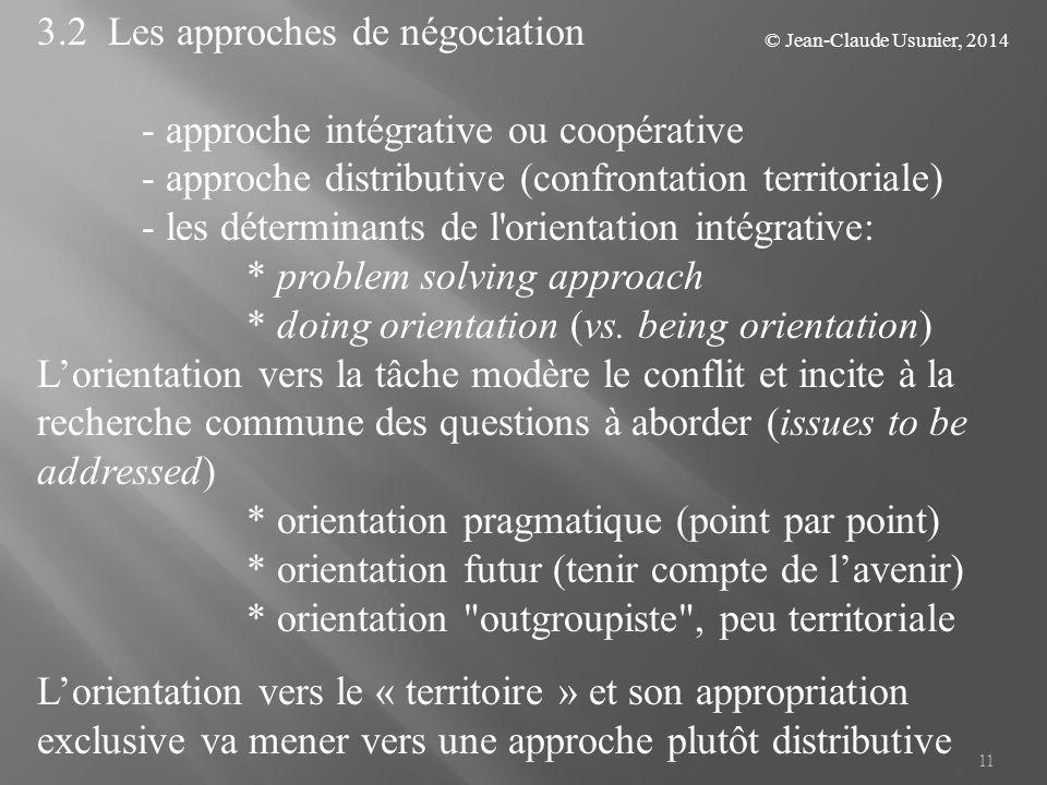 11 3.2 Les approches de négociation - approche intégrative ou coopérative - approche distributive (confrontation territoriale) - les déterminants de l