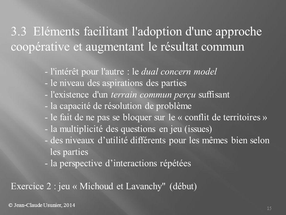 15 3.3 Eléments facilitant l'adoption d'une approche coopérative et augmentant le résultat commun - l'intérêt pour l'autre : le dual concern model - l