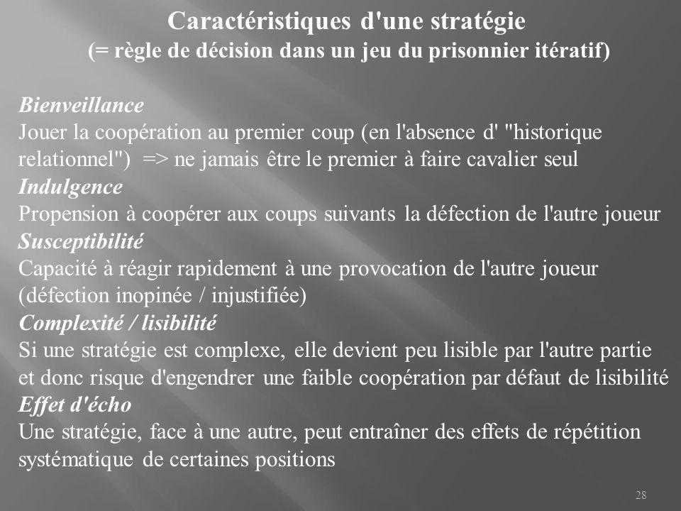 28 Caractéristiques d'une stratégie (= règle de décision dans un jeu du prisonnier itératif) Bienveillance Jouer la coopération au premier coup (en l'