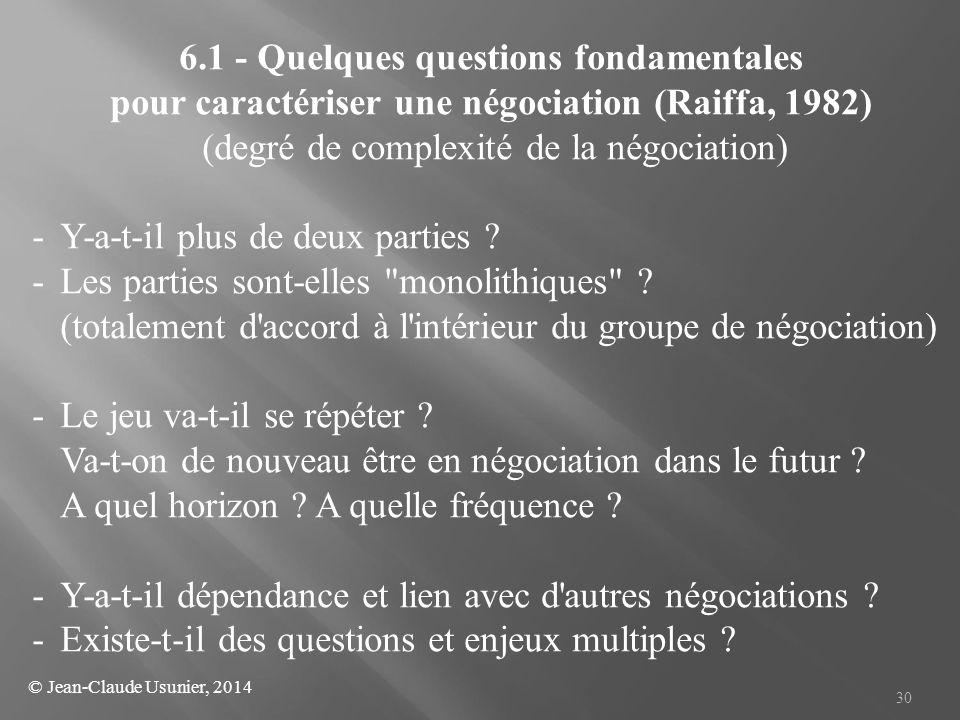 30 6.1 - Quelques questions fondamentales pour caractériser une négociation (Raiffa, 1982) (degré de complexité de la négociation) - Y-a-t-il plus de