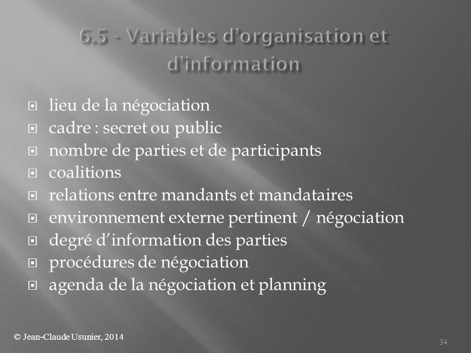  lieu de la négociation  cadre : secret ou public  nombre de parties et de participants  coalitions  relations entre mandants et mandataires  en