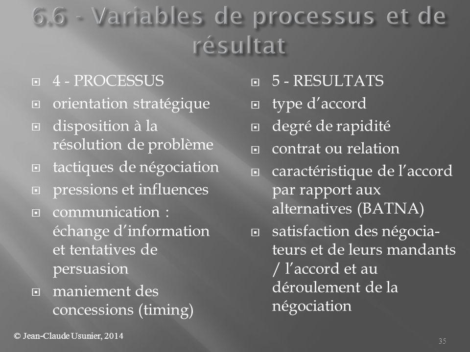  4 - PROCESSUS  orientation stratégique  disposition à la résolution de problème  tactiques de négociation  pressions et influences  communicati