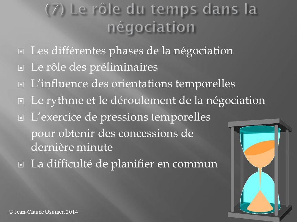  Les différentes phases de la négociation  Le rôle des préliminaires  L'influence des orientations temporelles  Le rythme et le déroulement de la