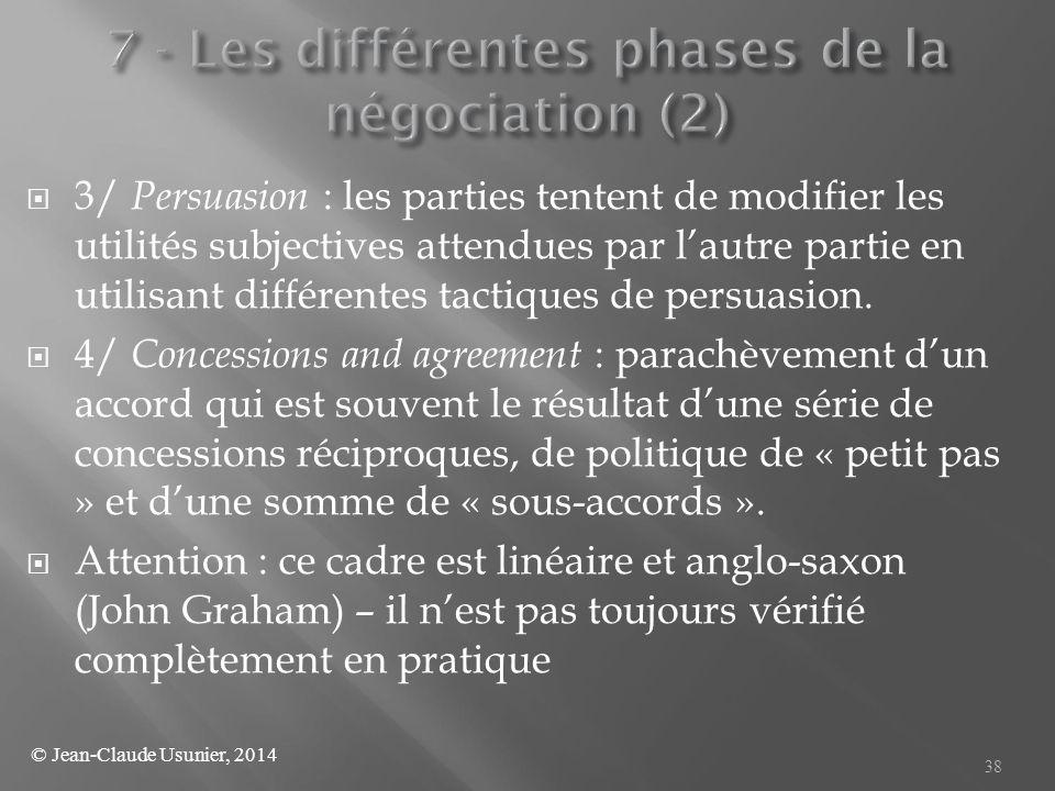  3/ Persuasion : les parties tentent de modifier les utilités subjectives attendues par l'autre partie en utilisant différentes tactiques de persuasi