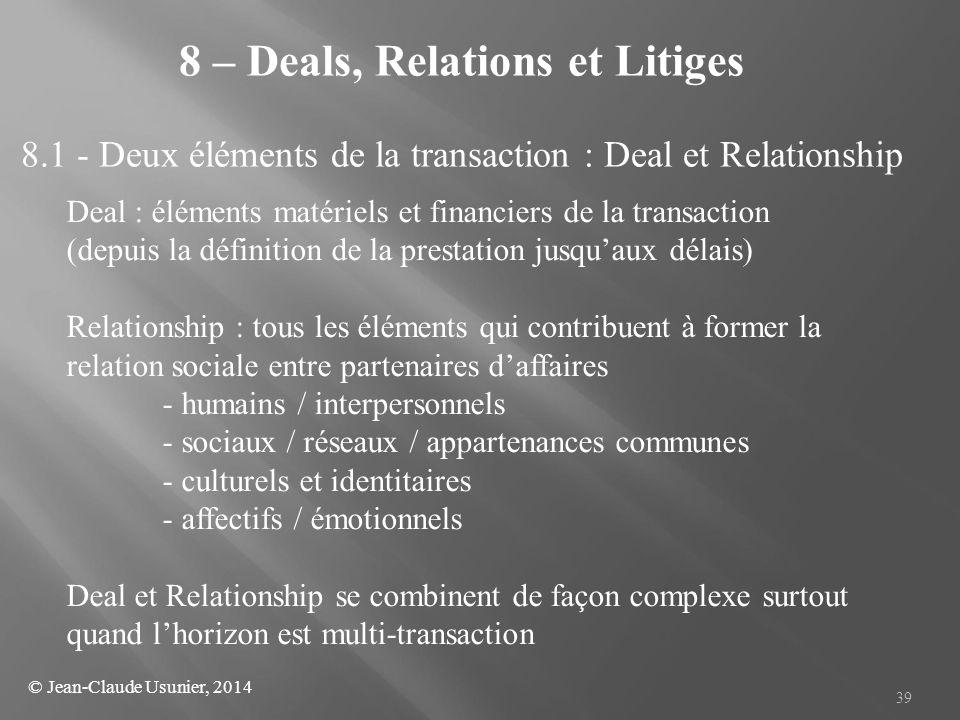39 8 – Deals, Relations et Litiges 8.1 - Deux éléments de la transaction : Deal et Relationship Deal : éléments matériels et financiers de la transact