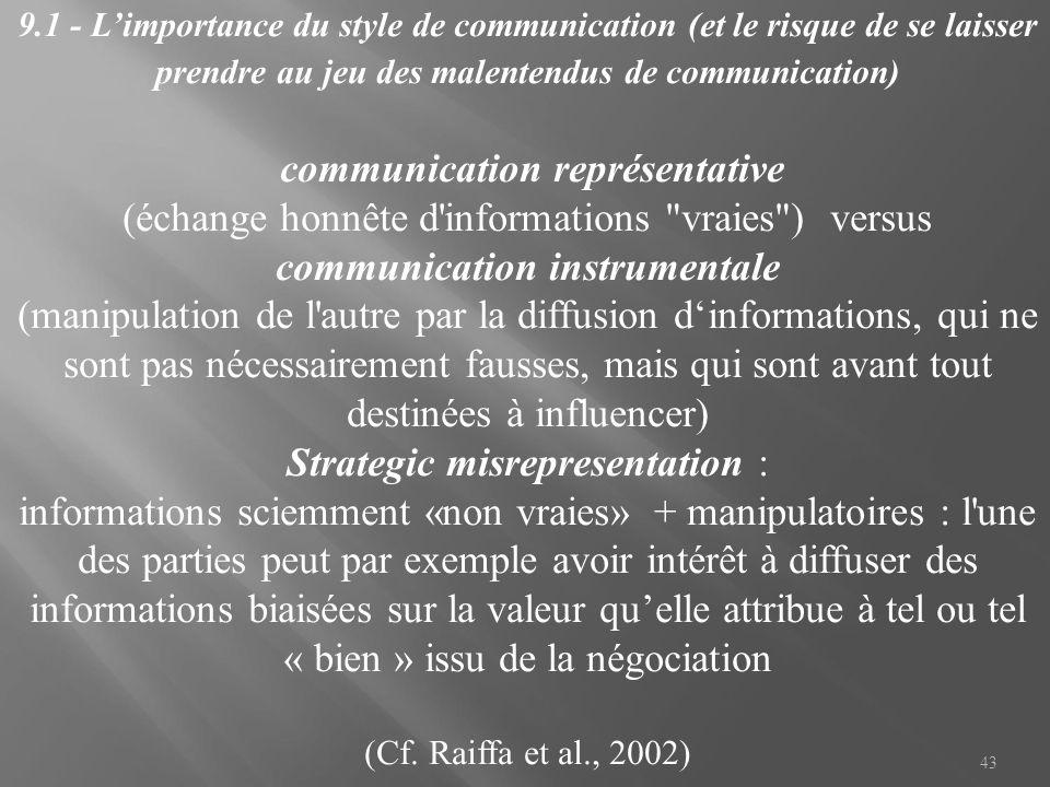 43 9.1 - L'importance du style de communication (et le risque de se laisser prendre au jeu des malentendus de communication) communication représentat