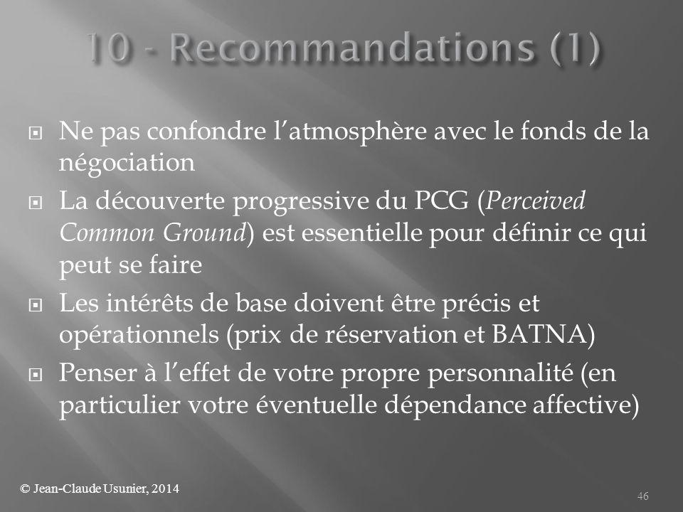  Ne pas confondre l'atmosphère avec le fonds de la négociation  La découverte progressive du PCG ( Perceived Common Ground ) est essentielle pour dé