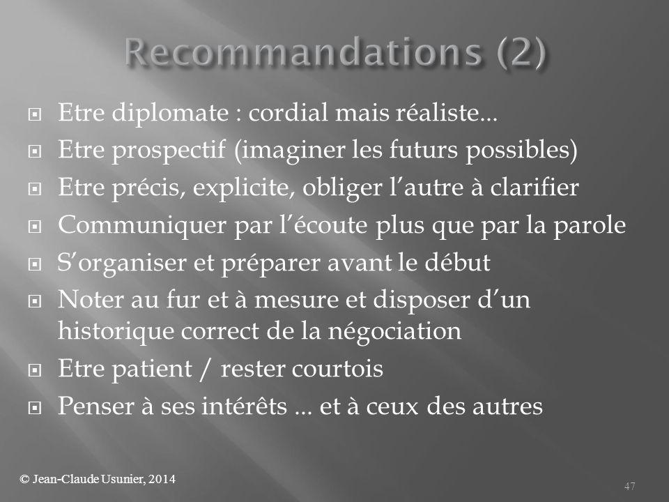  Etre diplomate : cordial mais réaliste...  Etre prospectif (imaginer les futurs possibles)  Etre précis, explicite, obliger l'autre à clarifier 