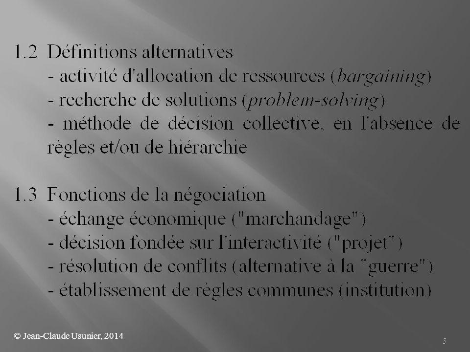 6 1.4 Conditions pour entrer en négociation - perception par les parties de l interdépendance - intention : utilité espérée > coût prévisionnel - différentiel de pouvoir raisonnable entre parties 1.5 Champ de la négociation - commerciale, d affaires, - sociale (salaires, conditions de travail, etc.) - fiscale, - lobbying - rachat d'entreprise, M&A, joint-ventures, etc.
