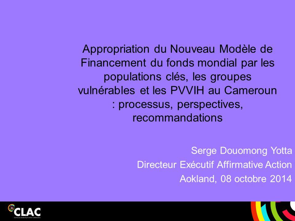 Appropriation du Nouveau Modèle de Financement du fonds mondial par les populations clés, les groupes vulnérables et les PVVIH au Cameroun : processus