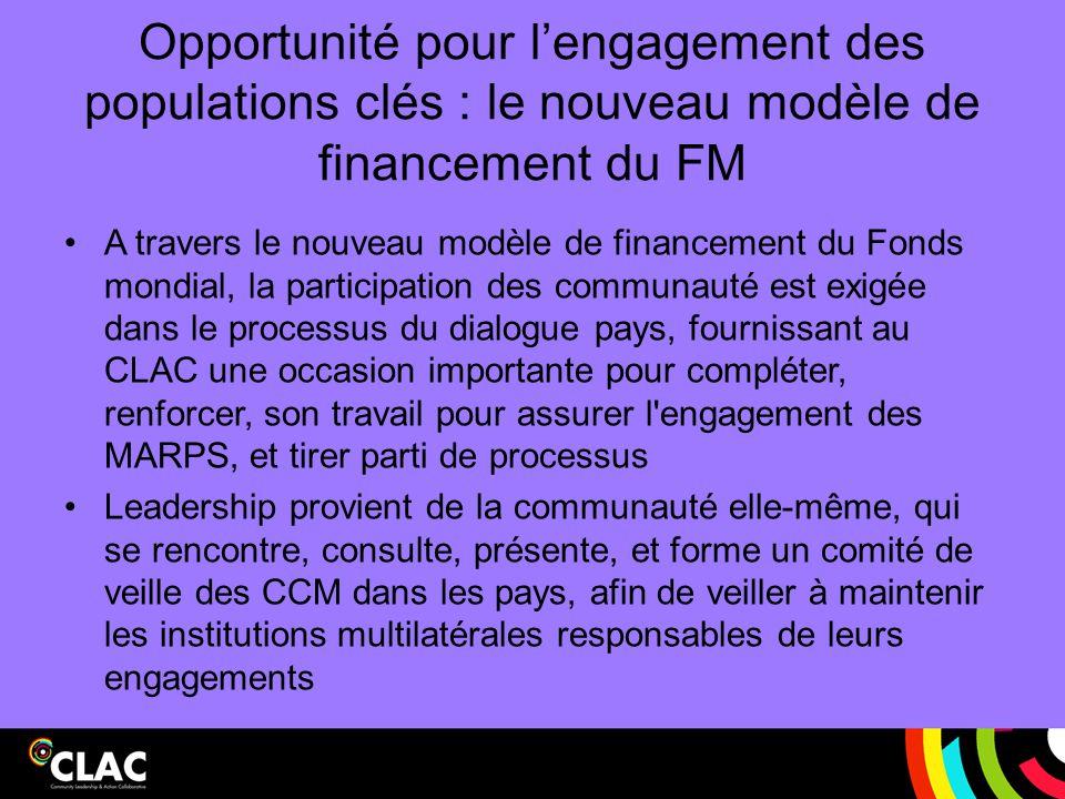 Opportunité pour l'engagement des populations clés : le nouveau modèle de financement du FM A travers le nouveau modèle de financement du Fonds mondia